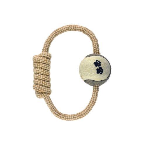 IMAC Přetahovadlo pro psy - kruhové s tenisovým míčkem - jutové - D 20 cm