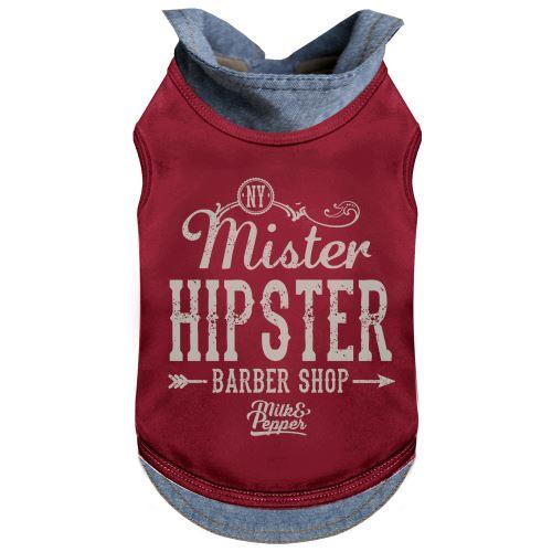 Tričko pro psa s límečkem Milk&Pepper - červené - 34 cm