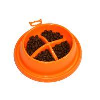 Plastová miska proti hltání s protiskluzem Argi - oranžová - 21,5 x 20,5 x 5,5 cm