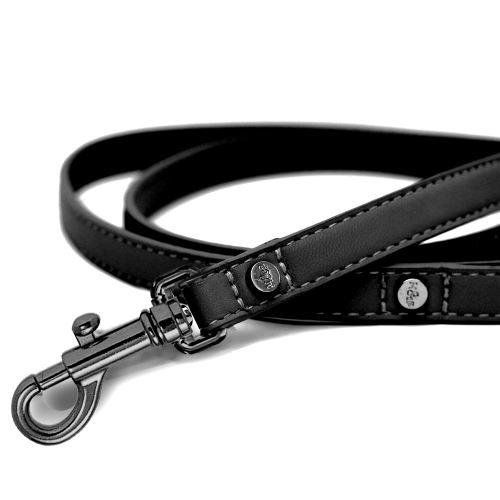 Vodítko pro psa kožené se zdobením Milk&Pepper - černé - 2 x 100 cm