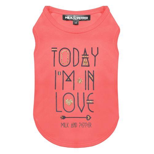 Tričko pro psa s nápisem Milk&Pepper - růžové - 15 cm