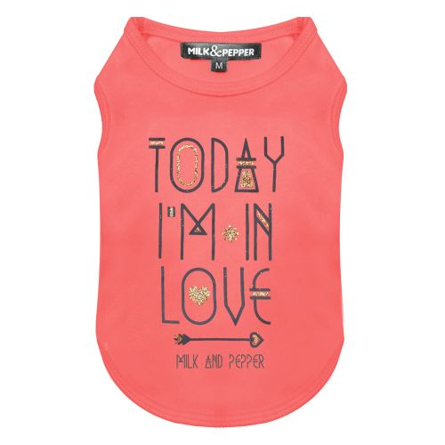 Tričko pro psa s nápisem Milk&Pepper - růžové - 19 cm