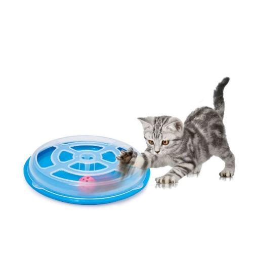 Hračka pro kočku - kruh s míčkem Argi - 29 x 5 cm - modrá