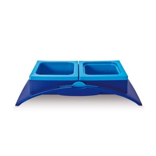 Plastová dvojmiska s protiskluzem a lžičkou Argi - modrá - 33 x 17 x 7,5 cm