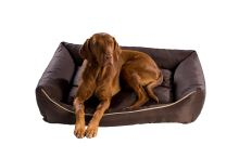 Pelech pro psa Argi obdélníkový - snímatelný potah z polyesteru - tmavě hnědý - 120 x 90 cm
