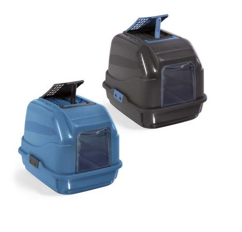 IMAC Krytý kočičí záchod z recyklovaného plastu s uhlíkovým filtrem a lopatkou - modrý - D 50 x Š 40 x V 40 cm