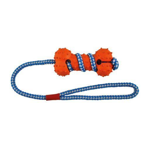 IMAC Gumová kost pro psa - oranžovo-modrá - 10,5 cm