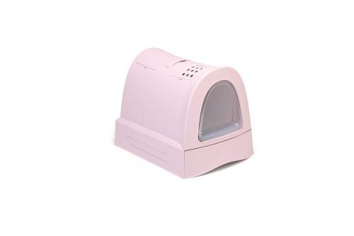 IMAC Krytý kočičí záchod s výsuvnou zásuvkou pro stelivo - růžový - D 40 x Š 56 x V 42,5 cm