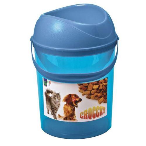 Box na krmivo s miskou Argi - modrý - 19,5 x 29,5 cm