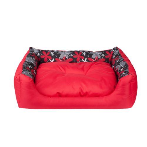 Pelech pro psa Argi obdélníkový s polštářem - červený se vzorem - 78 x 64 x 19 cm