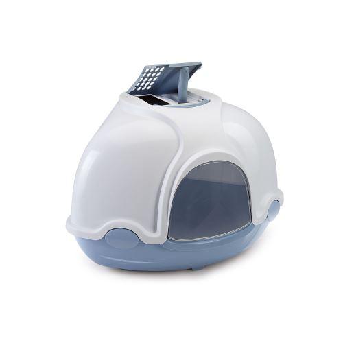 IMAC Krytý kočičí záchod rohový s filtrem - modrý - D 52 x Š 52 x V 44,5 cm